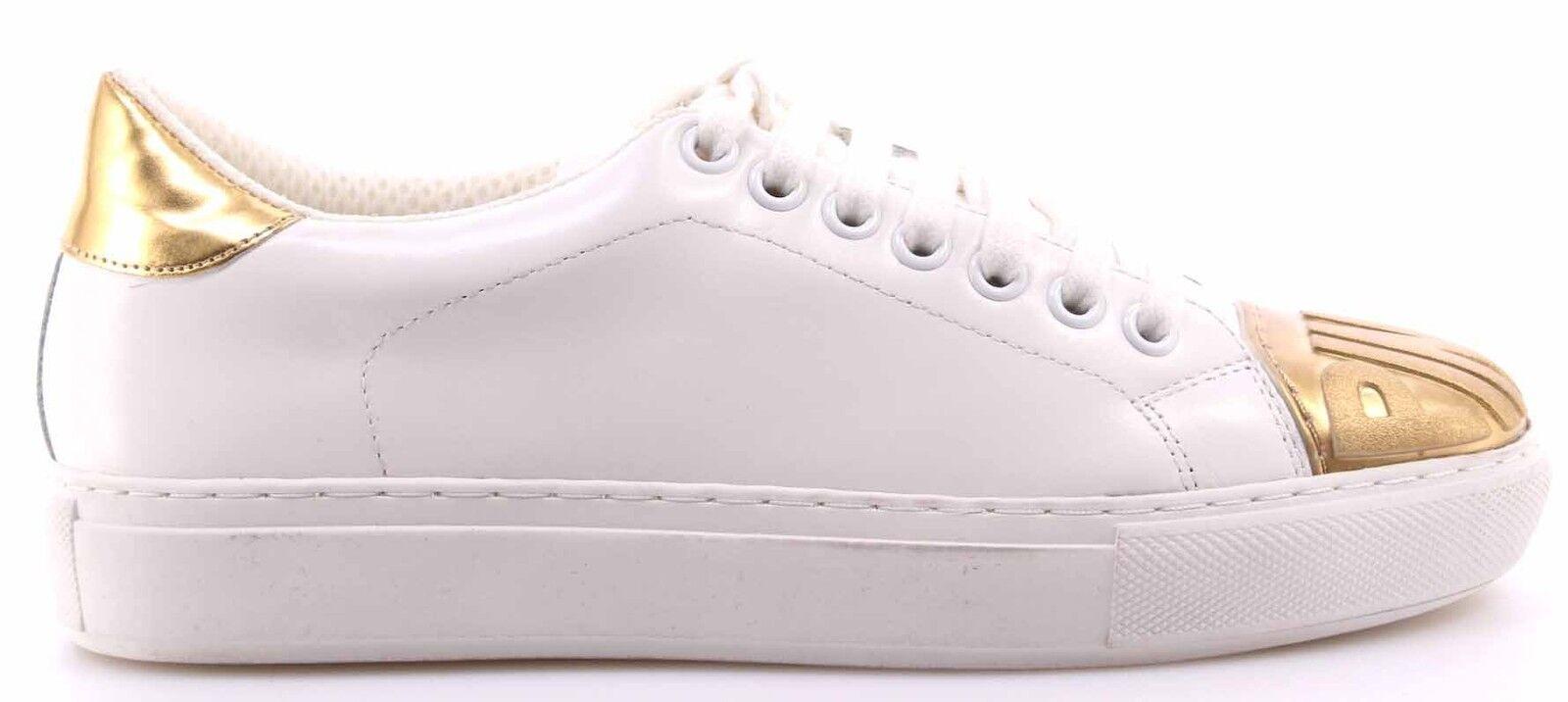 Damen Schuhe Sneakers PINKO Shine Baby Ametista 1 Bianco Oro Leder Weiss Neu New