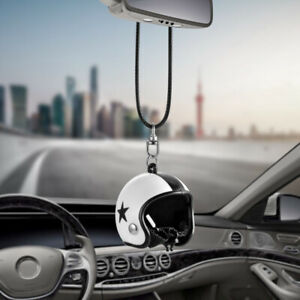 Cute Helmet Car Rearview Mirror Hanging