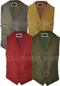 Mens-Moleskin-Waistcoat-Cotton-Olive-Lovat-Claret-Wedding-Smart-S-3XL