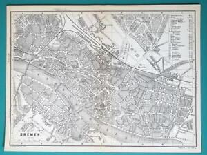 1897 Baedeker Map Germany Bremen City Plan Railroads Ebay