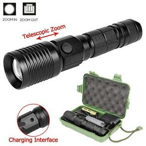 Zoomable-8000-LM-4-Mode-CREE-XML-T6-LED-Flashlight-Torch-Lamp-18650-amp-Charger-HZXF