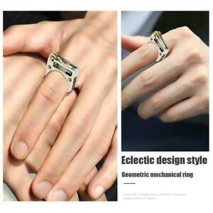 Unisex-Metal-Geometric-Mechanic-Gear-Punk-Ring-Eklektisch-Einzigartiges-Design