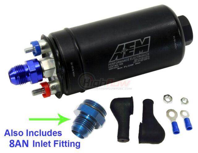 GENUINE AEM 50-1005 Inline Fuel Pump 380LPH, Bosch 044 Style + 8AN Inlet Fitting