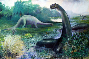 Brontosaurus-And-Diplodocus-by-Charles-R-Knight-Oil-Painting-Art-Reproduction
