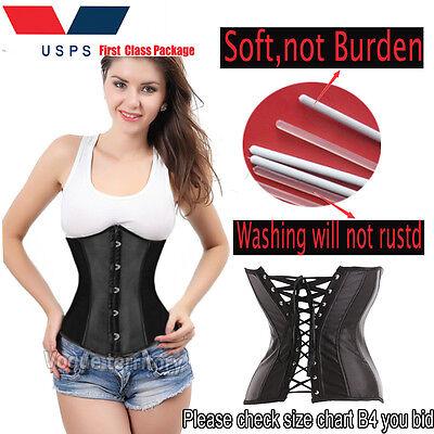 Sexy Womens Lace Up Boned Waist Training Underbust Corset Bustier Lingerie Top