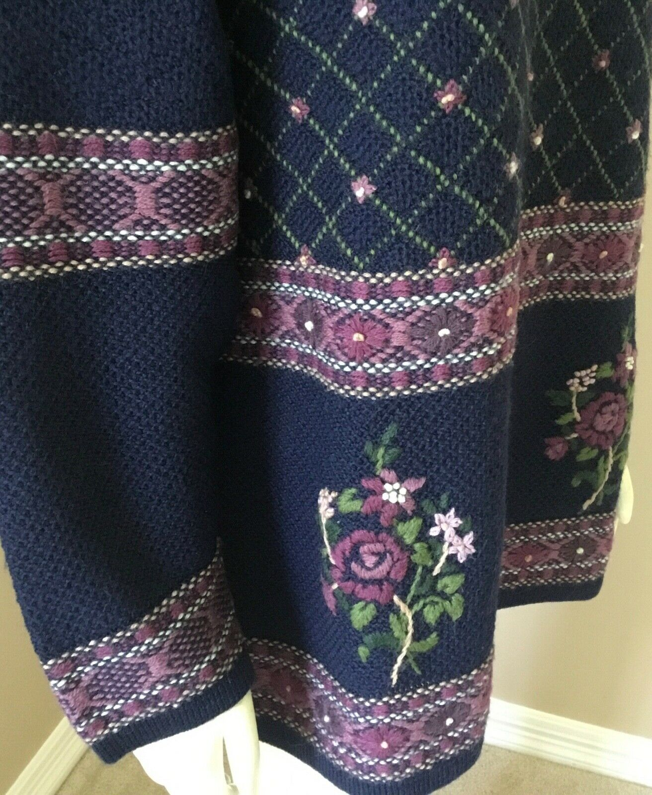 Vintage Laura Ashley 90s Floral 100% Wool Embroid… - image 7
