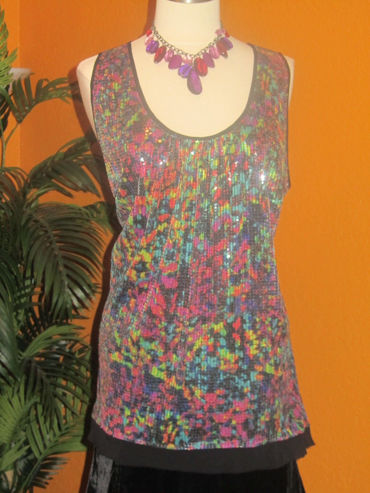 LANE BRYANT NWT   damen disco party shirt 2X schwarz multi Farbes sequin 24