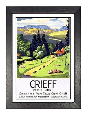 Crieff 2 British Railway Old Advert Market Town In Scotland Vintage Poster