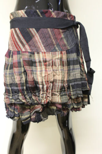 Sparkling womens tiered pleated blue or red check tie waist mini skirt S /& L