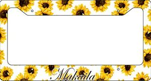 Personalized-Sunflowers-License-Plate-Frame-Custom-Car-Tag-White