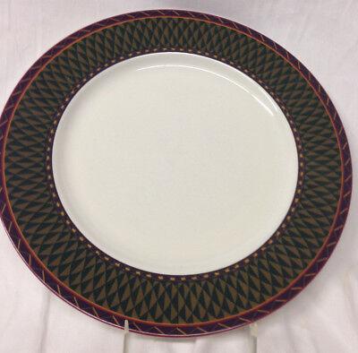 "SASAKI CHINA OASIS DINNER PLATE 10 7//8/"" PALMS /& POMEGRANATES GREEN /& PURPLE RIM"
