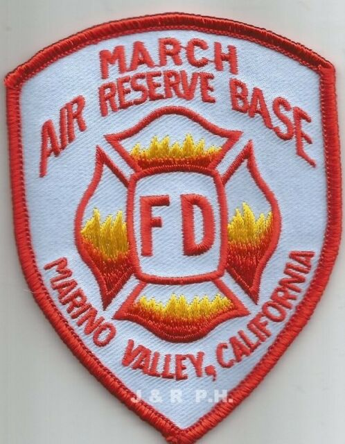 "U.S.A.F. - March  Air Reserve Base, Marino Valley, CA (4"" X 4"" size)  fire patch"