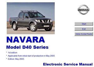 nissan navara d40 2005 2010 repair workshop manual cd quick rh ebay co uk nissan navara d40 repair manual free download nissan navara d40 owners manual pdf