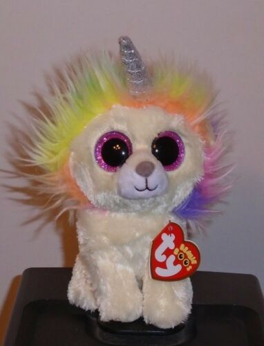 """Claire/'s Exclusive Ty Beanie Boos ~ LAYLA the Rainbow Lion 6/"""" NEW ~ IN HAND"""