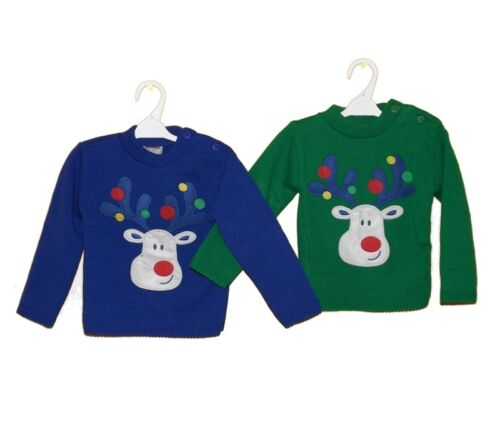 BABY BOYS CHRISTMAS JUMPERS GET READY FOR CHRISTMAS REINDEER ON FRONT