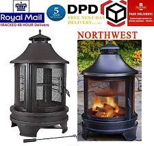 Northwest Sourcing Outdoor Log Burner Steel BBQ Cooking Pit Fire Garden NEW