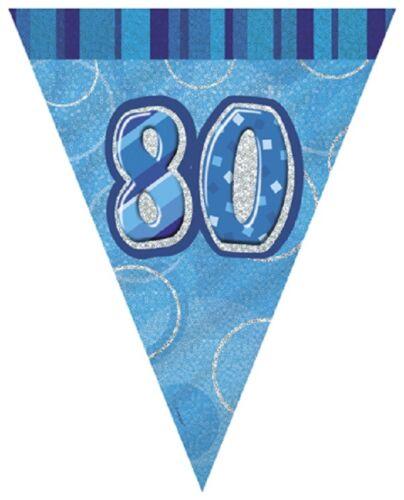 80//80th Azul Glitz Fiesta de Cumpleaños GAMA-Fiesta//placas//Servilletas//pancartas//cups