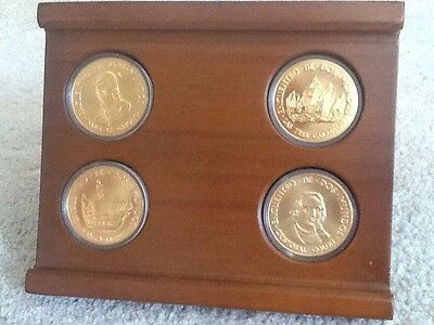Gold Plated Bronze Coin Set Spain S 500th Anniversary Discovery Of America Ebay
