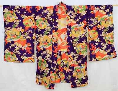 Bellissimo Corto Giapponese Kimono Viola/giallo/motivo 216 G Una Vasta Selezione Di Colori E Disegni