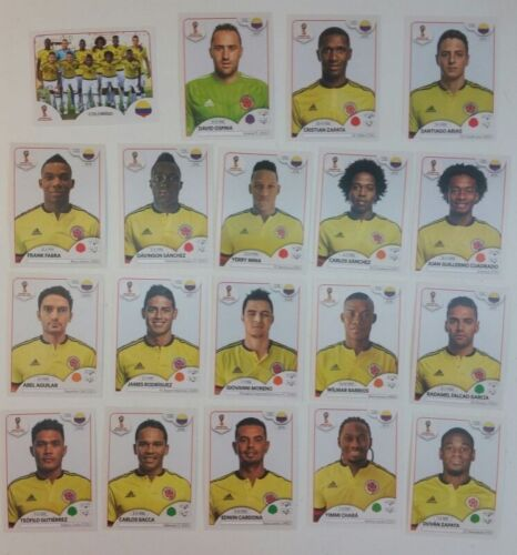 COLOMBIA  Panini FIFA World Cup Russia 2018 Stickers Lot of 19 Stickers Team Set
