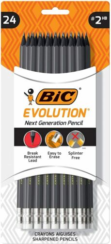 #2 Lead Gray Barrel 24-Count NEW BIC Evolution Cased Pencil