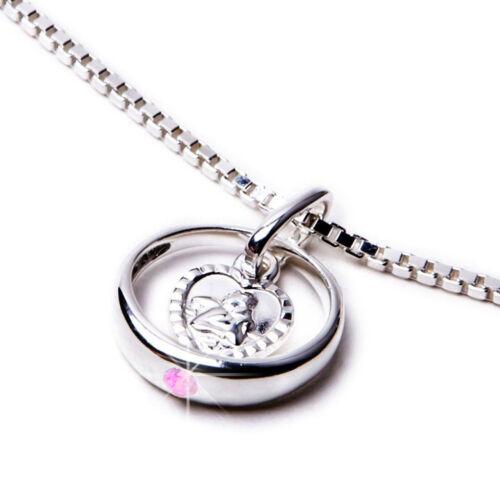 Taufring Engel herzförmig Zirkonia rosa Kette Taufe echt Silber 925 NEU Geschenk