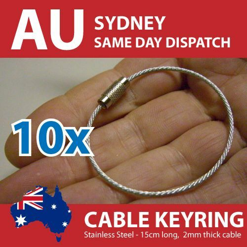 Stainless Steel Cable Wire Key Ring Keyring 150mm x 2mm Pack of 10