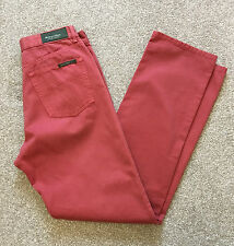 GORGEOUS HENRY COTTONS SALMON PINK/RED 5 POCKET JEANS TROUSERS 30 W 34 L