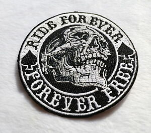 Ride-Forever-FREE-patch-SKULL-PARCHE-Biker-habito-para-planchar-Calavera