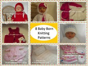 97c447172 Honeydropdesigns Set   8 PAPER KNITTING PATTERNS   For Baby Born 17 ...