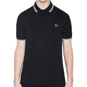 Image is loading Fred-Perry-M3600-Twin-Tipped-Polo-Black-Porcelain 657a31dca4e