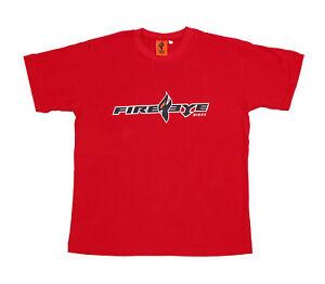 Details about Fireeye Brand Logo Men's Bike Tee Top Sports T-shirt Black  Red Large L size
