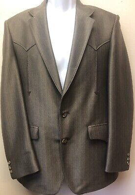 40R New Mens Western Wear Sport Coat Brown Poly Suede