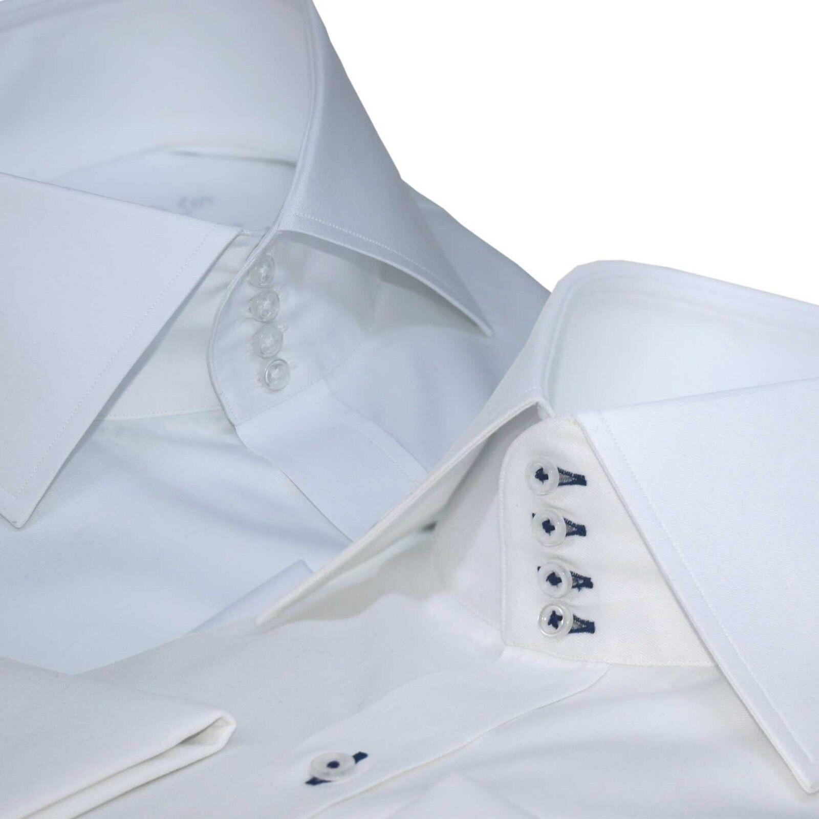 4f140543b0ca47 Uomo collo Alto Camicia Aperto Aperto Aperto Colletto 4 Bottoni Fascia  Bianco o Blu 209eaa
