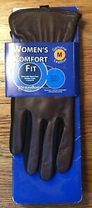 Grandoe  leather gloves Women's Comfort Fit Size Medium Brown