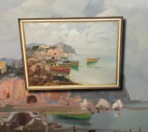 Kroatische-Kuestenlandschaft-Original-altes-Olgemaelde-Expressionismus-Malerei