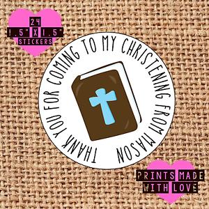 Personnalisé 24 baptême//confirmation bible croix autocollants parti