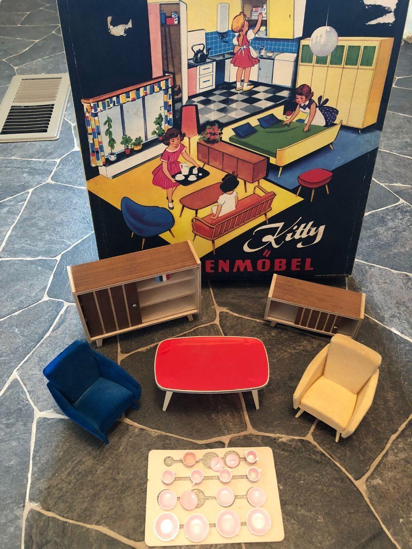 Rara Vintage Puppen Mobel mediados siglo moderno mobiliario de Alemania Occidental