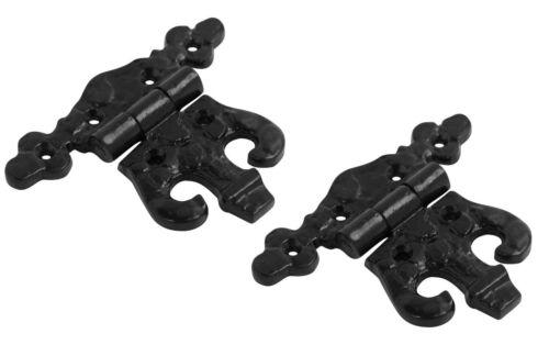 Noir Antique Fonte inégale Fantaisie Papillon Charnières charnières de meuble 89 mm paires