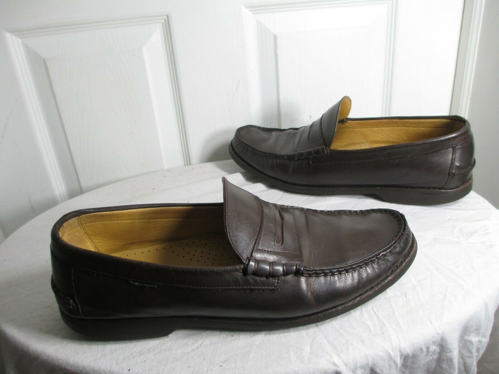 PARABOOT MEN'S BROWN LEATHER MOCASSIN LOAFERS UK 11 US 12 HANDCRAFTED IN SPAIN