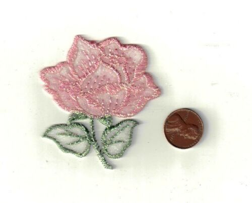 Pink Flower Metallic Iron-On Applique Embroidered Sewing Craft Embellishment