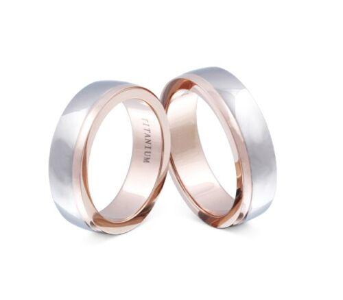 Zwei elegante Eheringe Ringe aus Titan Partnerringe Trauringe og T-AT-HH