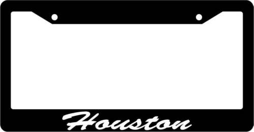 Black License Plate Frame CURSIVE Houston Auto Accessory 1467