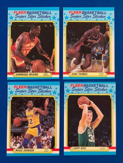 1988 Fleer Super Sticker BIRD / MAGIC / WILKINS / THOMAS * LOT of 4 *