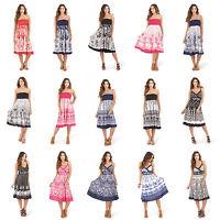 Ladies Summer Strapless/Bandeau/Beach Cotton Sun Dress/Maxi Skirt Size 8-22