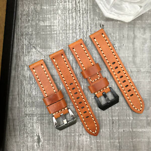 Premium-Quality-Thick-Orange-Leather-Watch-Strap-Band-20-22-24-26-Lug-Watches
