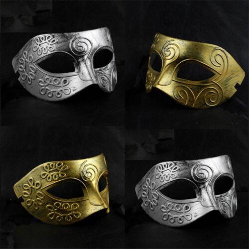 Men Burnished Antique Silver Gold Venetian Mardi Gras Masquerade Party Ball Mask