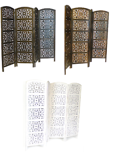 4 Panel Carved Indian Screen Wooden Flower Design Screen Room Divider