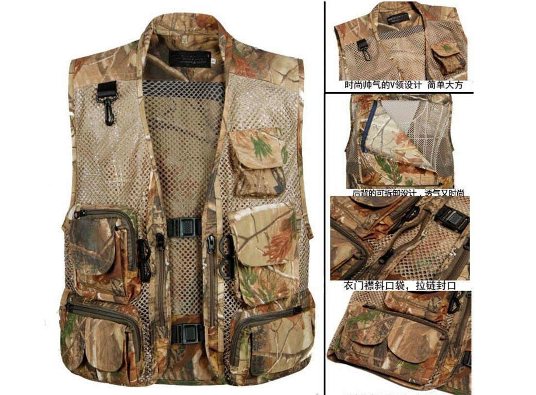 Photograph Hunting Fishing Camouflage Clothing Sleeveless Mesh Sports Vest