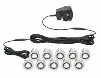 SET OF 10 - 30mm IP44 ROUND WHITE LED DECKING / GROUND / PLINTH LIGHT KIT